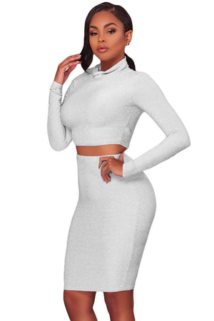 Her Fashion White Silver Shimmer Two Piece Stunning Women Dress