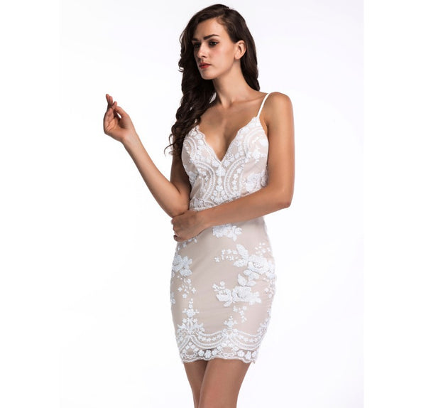 Her Fashion Grey Spaghetti Strap Backless Sequins Slim Party Dress