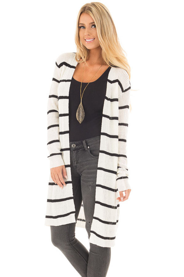 Her Fashion Black Striped Ribbed Chic and Timeless Cardigan