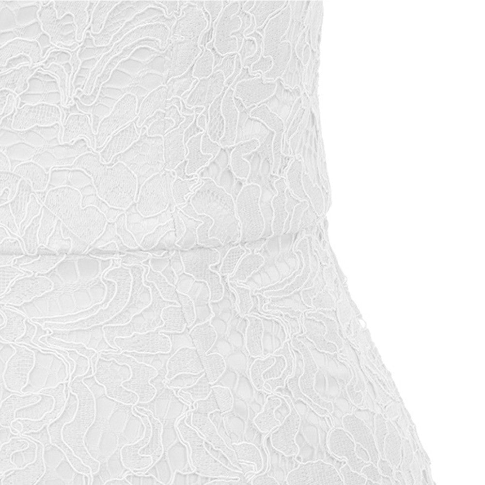 Her Fashion White V Neck Sleeveless Mini Lace Up Strapy Bandage Dress