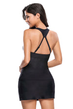 Her Fashionable Black Racerback Tankini 2pcs Skort Swimsuit