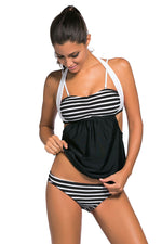 Her Fashionable Black White Stripes Black Splice Chic Tankini Swimsuit