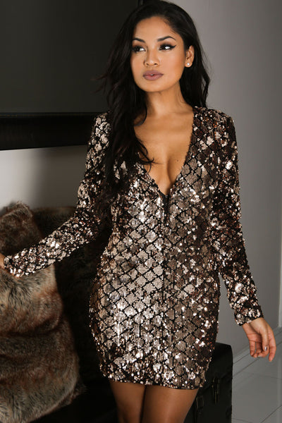 Her Fashionable Long Sleeves Sparkle Sequin Mini Bodycon Club Dress