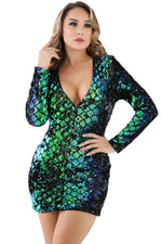 Her Fashionable Green Sparkle Sequin Mini Bodycon Club Dress
