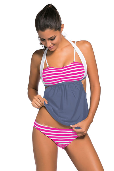 Her Fashionable Rosy White Stripes Grey Splice Chic Tankini Swimsuit