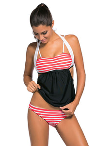 Her Fashionable White Red Stripes Black Splice Chic Tankini Swimsuit