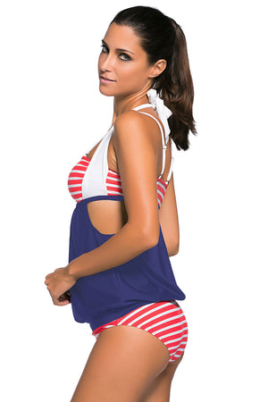 Her Fashionable White Red Stripes Navy Splice Chic Tankini Swimsuit