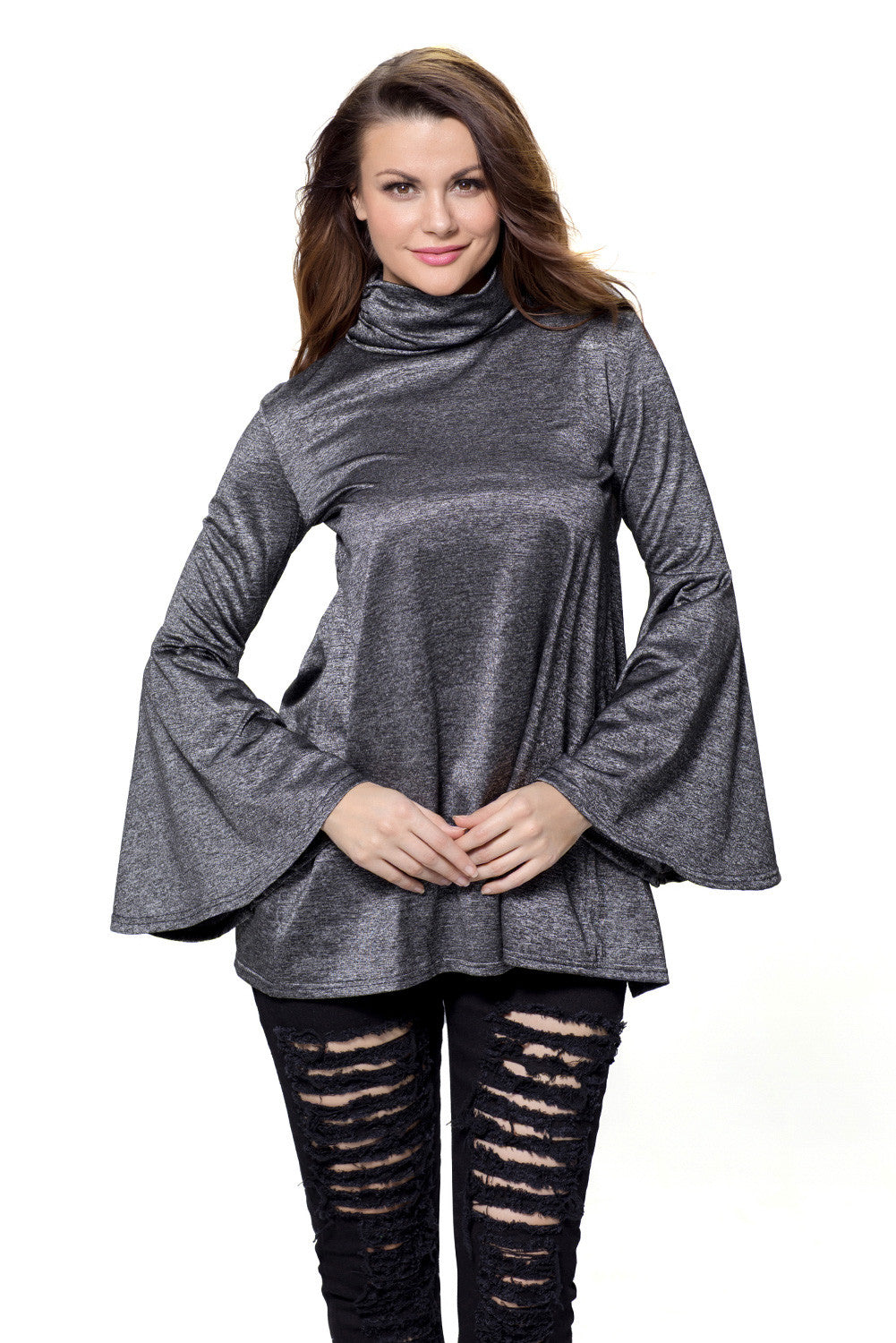 Her Flattering Black Flared Bell Sleeve Knit Fashionable Blouse