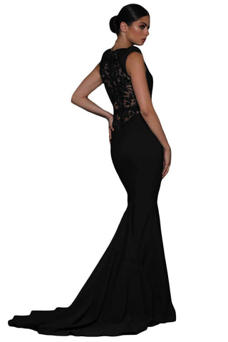 Her Flattering Black Floral Embroidery Fishtail Chic Evening Dress