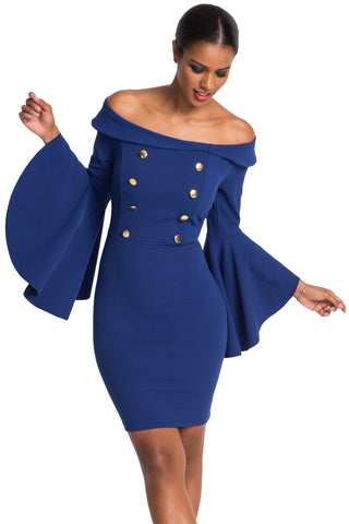 Her Flattering Blue Double Breasted Button Chic Off Shoulder Dress