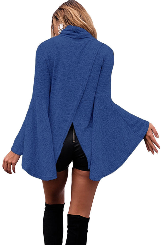 Her Flattering Blue Flared Bell Sleeve Knit Fashionable Blouse