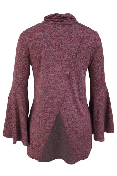 Her Flattering Burgundy Flared Bell Sleeve Knit Fashionable Blouse