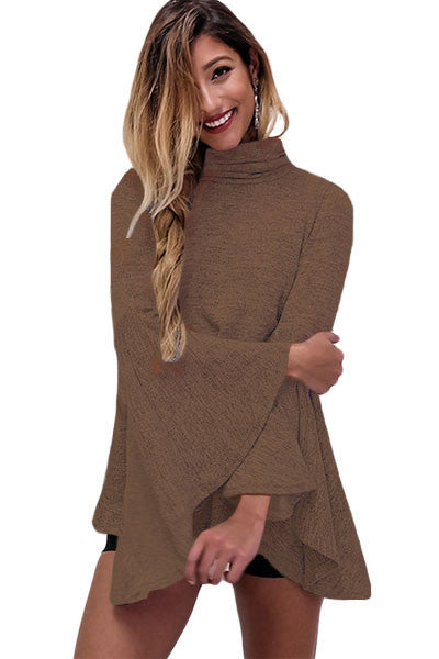 Her Flattering Coffee Flared Bell Sleeve Knit Fashionable Blouse