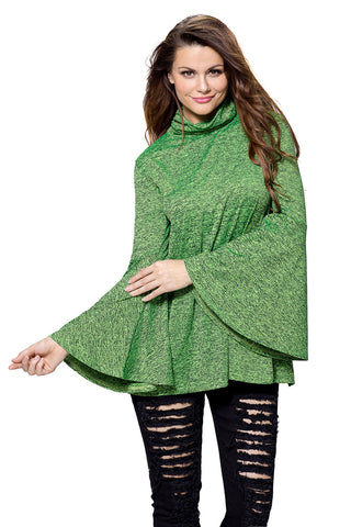 Her Flattering Green Flared Bell Sleeve Knit Fashionable Blouse