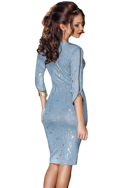 Her Flattering Light Blue Zip Detail Half Sleeve Bodycon Midi Dress