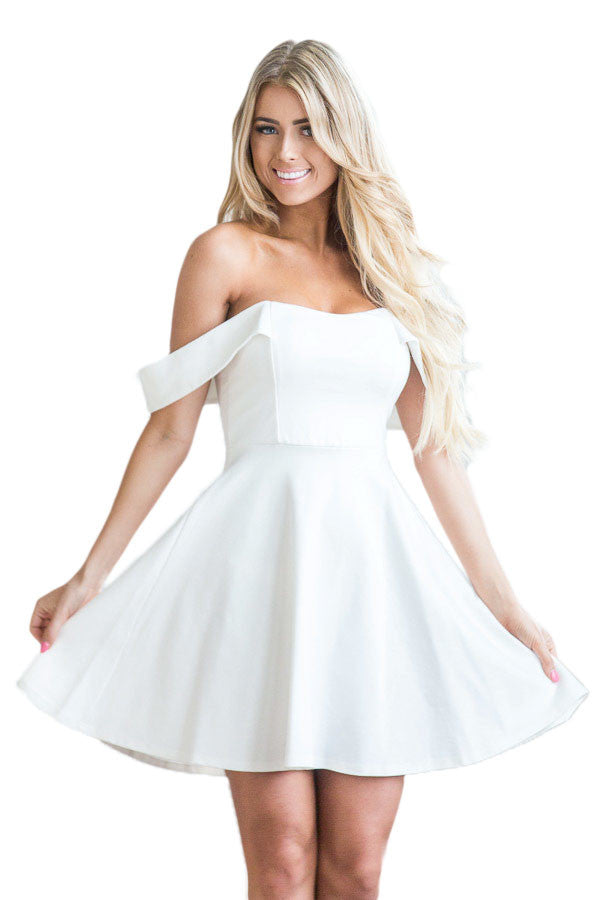 Her Flattering White Off The Shoulder Flare Babydoll Party Dress