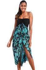 Her Floaty And Chic Black Turquoise Printed Gorgeous Beach Dress