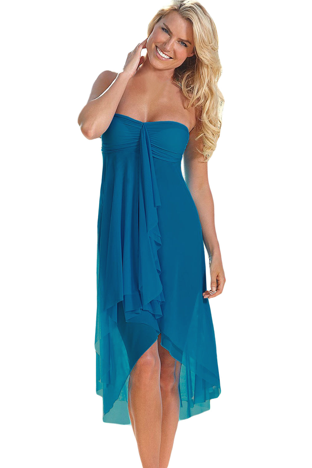 Her Flowing Drape Style Beach Dress Blue Convertible Cover Up