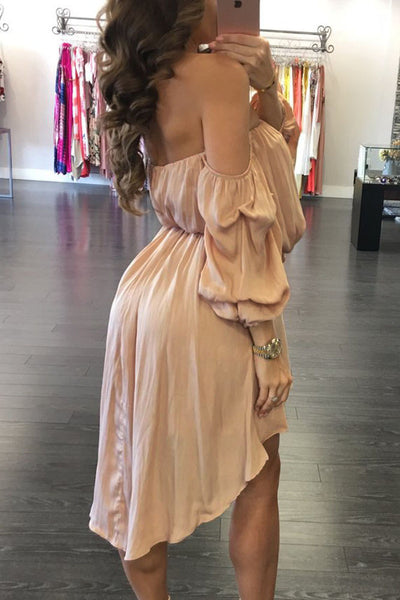 Her Glamorous Apricot Off Shoulder Ruched Hi-low Chic Party Dress