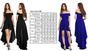 Her Glamorous Blue High Low Hem Off Shoulder Bodice Trendy Party Dress