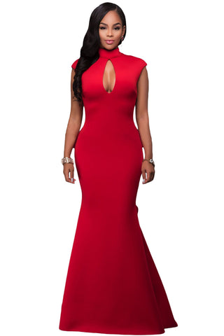 Her Glamorous Red High Neck Ruffle Back Flattering Ponti Gown