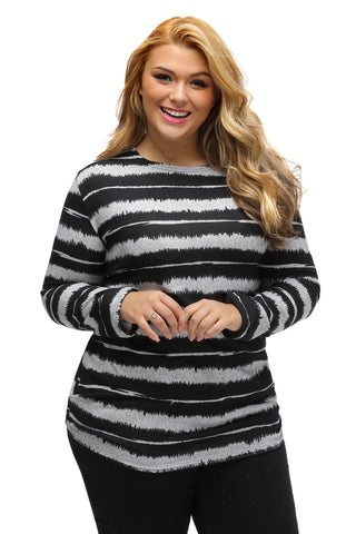 Her Go-To Shirt Black Embellished Tie-Dye Stripe Plus Size Top