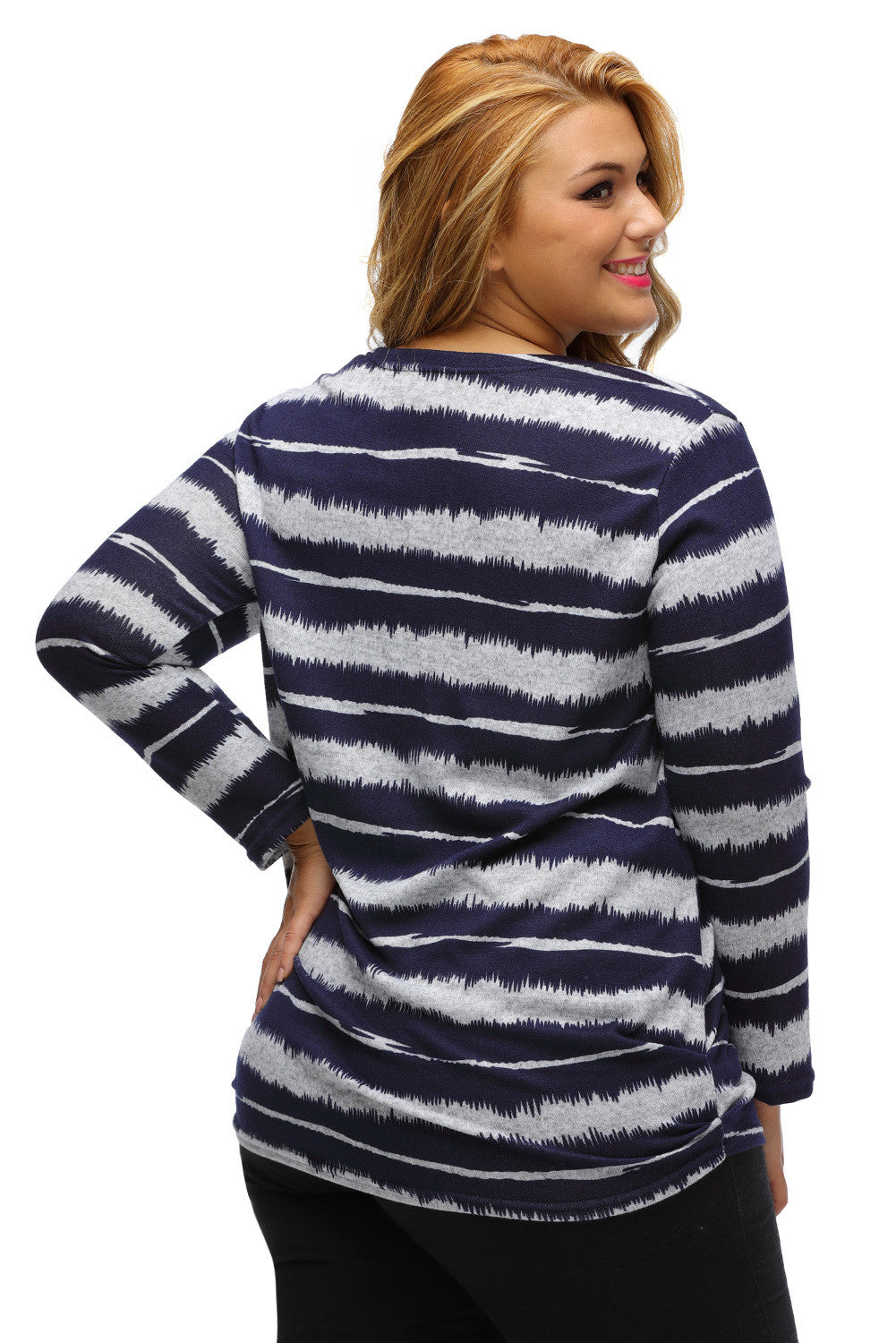 Her Go-To Shirt Navy Embellished Tie-Dye Stripe Plus Size Top