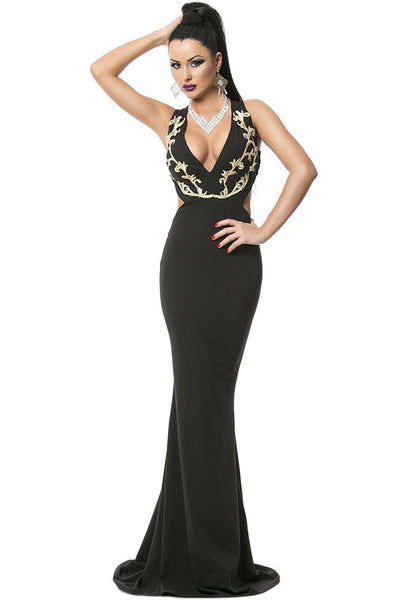 5711a13efa Her Gold Embroidery Deep V Plunge Gorgeous Evening Dress ...