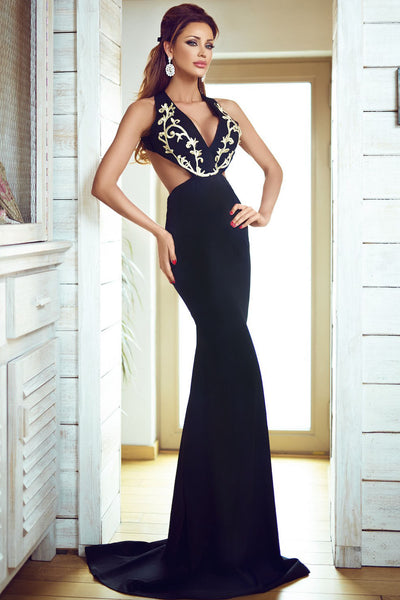 bf35470cbf Her Gold Embroidery Deep V Plunge Gorgeous Evening Dress –  HisandHerFashion.com