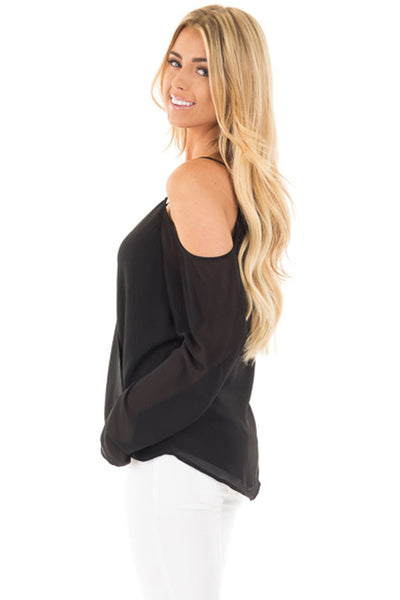 a77c1fac187bbe Her Gorgeous Black Cold Shoulder Overlap V Neck Long Sleeve Trendy Top