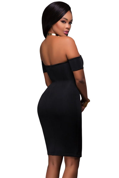 Her Gorgeous Black Off Shoulder Chic Front Zip and Slit Dress