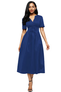 Her Gorgeous Blue Split Neck Short Sleeve Midi Dress with Bowknots