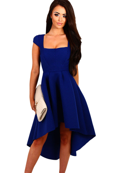 Her Gorgeous Blue Stripe Dip Hem Amazing Midi Swing Dress