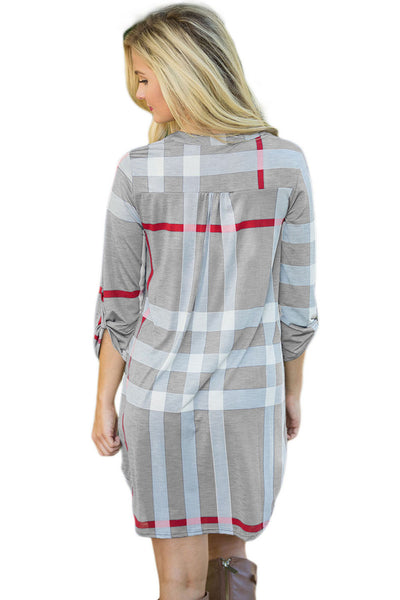 Her Gorgeous Classic Grey Plaid Roll up Sleeves Arched Hemline Dress