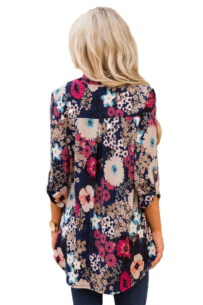Her Fashion Navy Blue Vibrant Floral Gorgeous Print V Neck Blouse