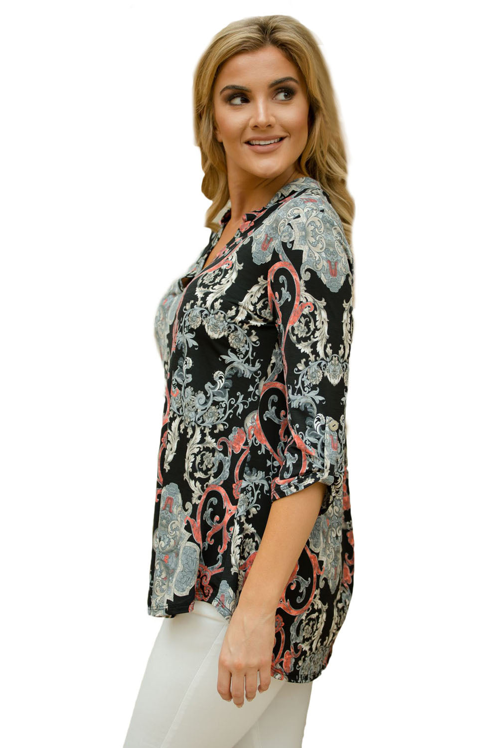 Her Fashion Dusty Blue Magenta Floral Gorgeous Print V Neck Blouse
