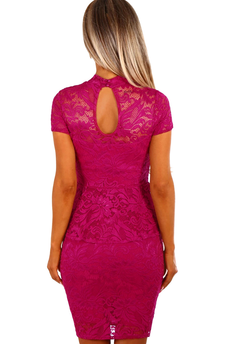 Her Gorgeous Floral Pattern Women's Party Mini Lace Peplum Dress