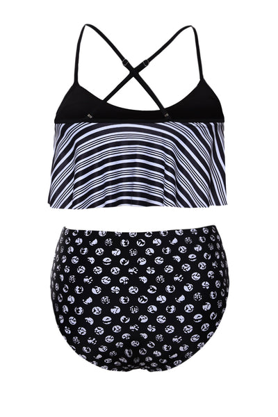 Her Gorgeous Navy Blue Top and Striped Bottom High Waist Swimwear