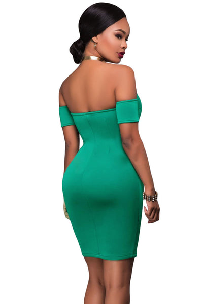 Her Gorgeous Green Off Shoulder Chic Front Zip and Slit Dress