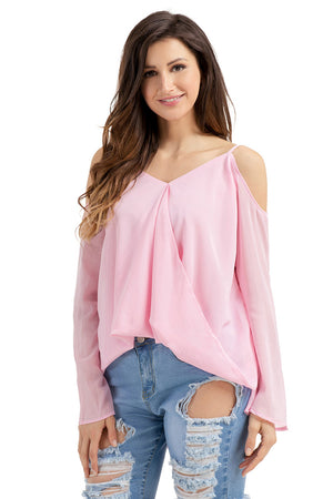 Her Gorgeous Salmon Cold Shoulder Overlap V Neck Long Sleeve Trendy Top