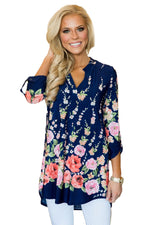 Her Fashion Blue Pink Floral Paisley Gorgeous Print V Neck Blouse