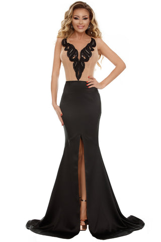 Her Gorgeous Nude Black Mermaid Party Evening Dress with Front Slit