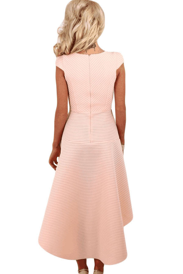 Her Gorgeous Pink Stripe Dip Hem Amazing Midi Swing Dress