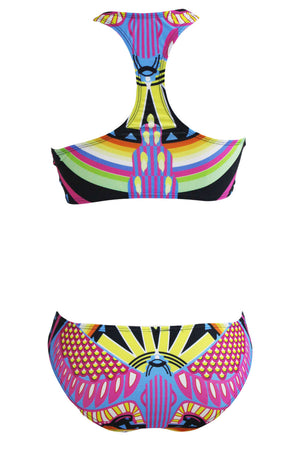 Her Gorgeous Racer-back Boho Print High Neck Trendy Swimsuit