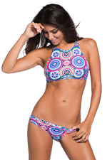 Her Gorgeous Racer-back Ocean Print High Neck Trendy Swimsuit