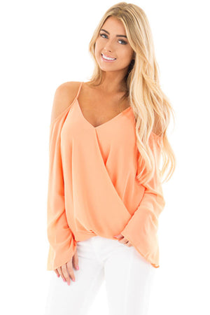 Her Gorgeous White Cold Shoulder Overlap V Neck Long Sleeve Trendy Top