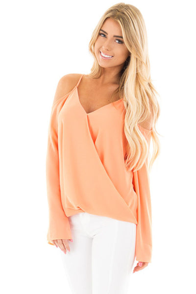 Her Gorgeous Lilac Cold Shoulder Overlap V Neck Long Sleeve Trendy Top
