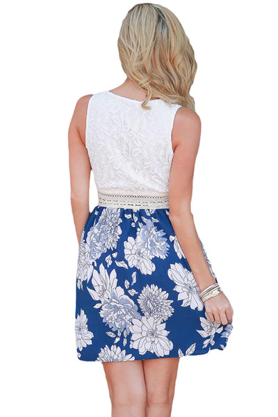 Her Gorgeous Sundress Tank Blue Floral Print Skirt Skater Dress