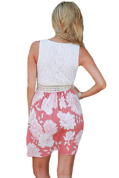 Her Gorgeous Sundress Tank Pink Floral Print Skirt Skater Dress
