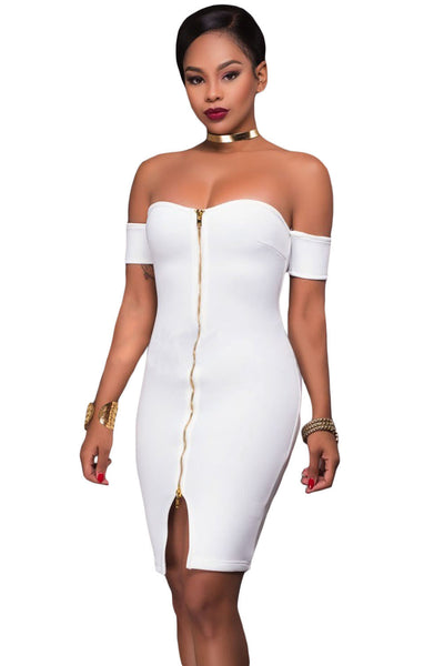 Her Gorgeous White Off Shoulder Chic Front Zip and Slit Dress
